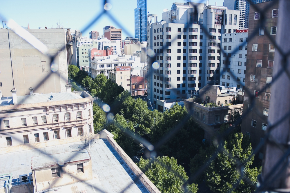 [Image Description: Looking down from the rooftop of a building at multi-story buildings and green tree lined streets through the diamond shaped fence]