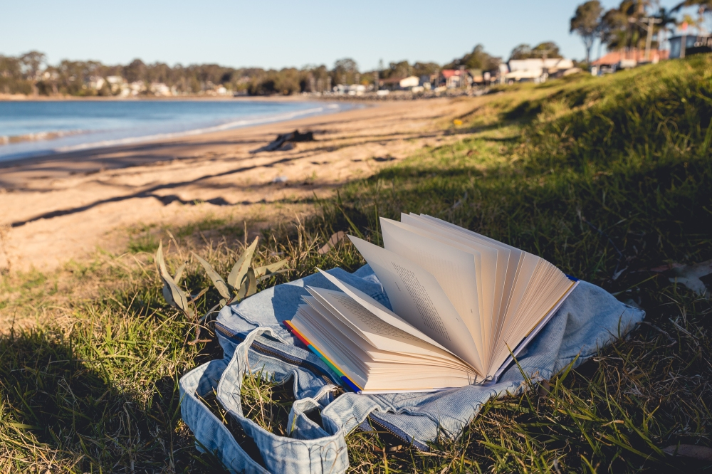 Photograph of a book fanned open on the grass at the beach in late afternoon sunshine.